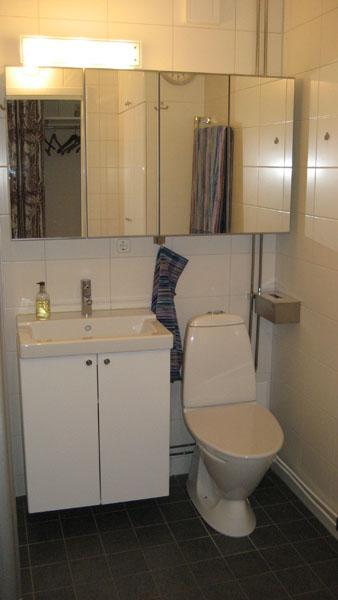 Dubbla badrumsskåp och extra hög toalett Golvets klinkers har lite glitter i sig,är