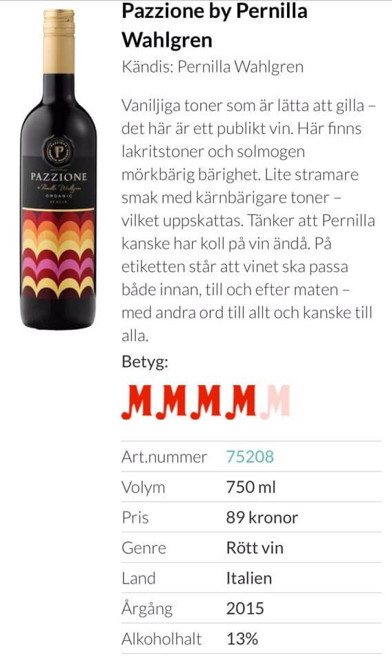 pernilla wahlgren vin
