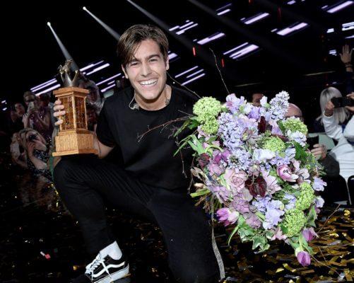 STOCKHOLM 20180310 Benjamin Ingrosso vinner under lördagens final i Melodifestivalen 2018 i Friends Arena. Foto Jonas Ekströmer / TT kod 10030